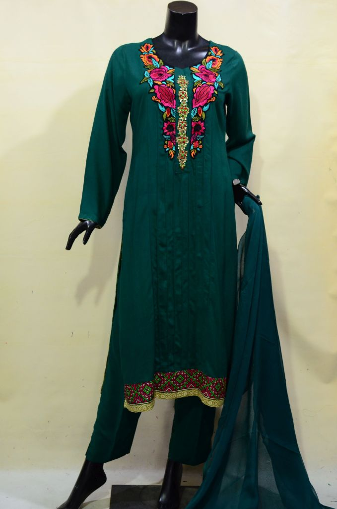 Dark Green Floral Embroidery Dress