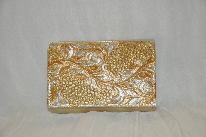 Gold Floral Print Evening HandBag