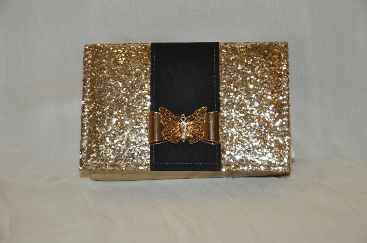 Golden & Black Butterfly Motif Shoulder Bag