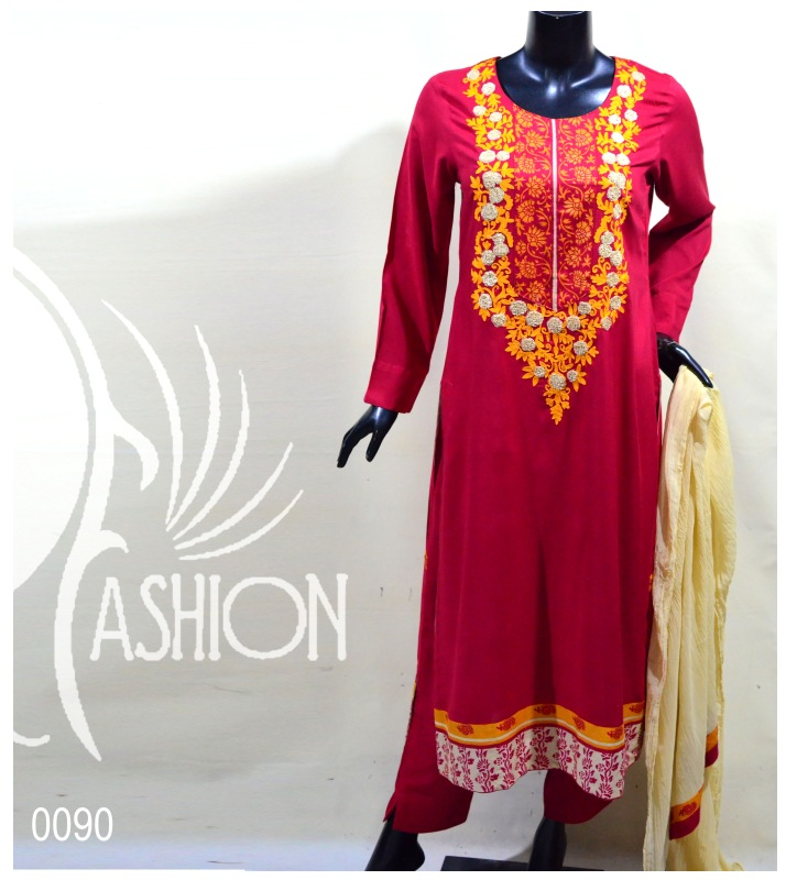 Red Color Embroidered Dress